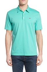 Patagonia Men's 'Trout Fitz Roy' Organic Cotton Polo Blue Green