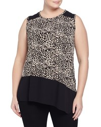 Vince Camuto Plus Asymmetric Animal Print Georgette Trim Tank Rich Black