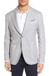 Lubiam Men's Classic Fit Cotton Blazer Light Pastel Grey