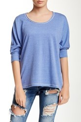 Zoa 3 4 Sleeve Exposed Seam Sweatshirt Blue