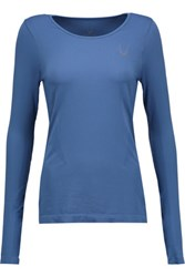 Lucas Hugh Printed Mesh Paneled Stretch Jersey Top Blue