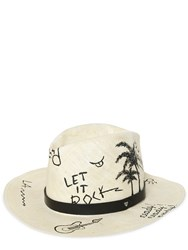 Htc Hollywood Trading Company Hand Painted Graffiti Straw Hat