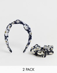 New Look 2 Pack Daisy Knot Aliceband And Scrunchie In Black