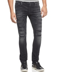 Guess Distressed Skinny Jeans Worn Black Wash Destruction