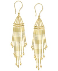 Macy's Multi Strand Bead Chandelier Earrings In 14K Gold Yellow Gold