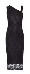 Maiocci Collection One Shouldered Lace Dress Black