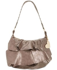 Betsey Johnson Just For The Frill Of It Large Hobo Pewter