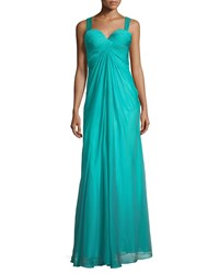La Femme Sweetheart Ruched Crisscross Back Gown Peacock