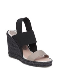 Delman Jamie Leather Espadrille Wedge Sandals Beige