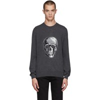 Alexander Mcqueen Black Wool And Mohair Skull Sweater