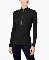 Inc International Concepts Half Zip Sweater Only At Macy's Deep Black