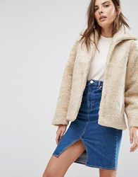 Warehouse Faux Shearling Jacket Cream