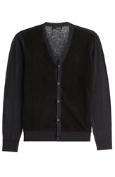The Kooples Cardigan With Perforated Leather