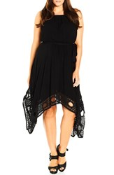 City Chic Plus Size Women's Crochet Trim Handkerchief Hem Dress