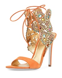 Rene Caovilla Multi Crystal Crown Ankle Wrap Sandal Orange
