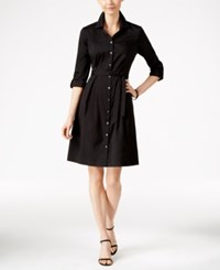 Charter Club Fit And Flare Shirtdress Only At Macy's Deep Black