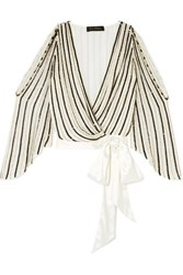 Jenny Packham Cutout Satin Trimmed Embellished Chiffon Wrap Blouse White