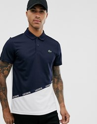 Lacoste Sport Taping Logo Cut And Sew Polo In Navy