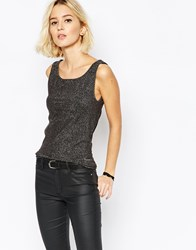 Selected Gunva Silver Shiny Sleeveless Top Black