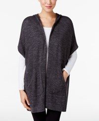 Eileen Fisher Organic Cotton Hooded Poncho Charcoal