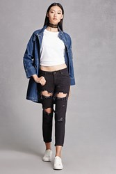 Forever 21 Distressed Ankle Zipper Jeans Black