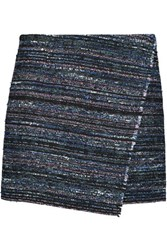 Diane Von Furstenberg Wrap Effect Cotton Blend Tweed Mini Skirt Black