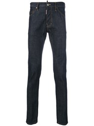 Dsquared2 Cool Guy Dark Wash Jeans Men Cotton Calf Leather Polyester Copper 56 Blue