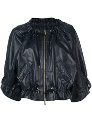 Alberta Ferretti Drawstring Cropped Leather Jacket Blue