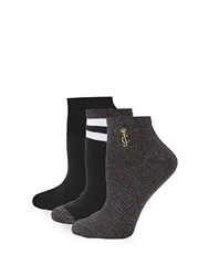 Juicy Couture Three Pack Sparkle Ankle Socks Black
