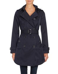 Michael Kors Belted And Hooded Trench Coat Navy