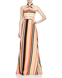 Kay Unger Stripe Cutout Halter Gown Red Multi