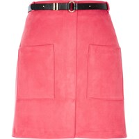 River Island Womens Pink Belted Pocket Mini Skirt