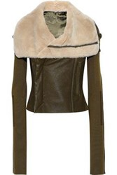Rick Owens Woman Shearling Stretch Knit And Textured Leather Biker Jacket Army Green