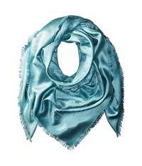 Marc Jacobs Solid Monogram Logo Shawl Aqua Scarves Blue