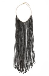 Women's Bp. Bead Fringe Statement Necklace Black