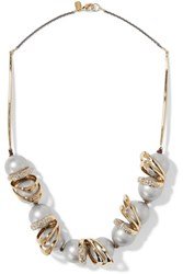 Alexis Bittar Gold And Gunmetal Tone Swarovski Crystal And Faux Pearl Necklace One Size