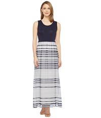 Calvin Klein Printed Maxi With Chiffon Bottom Twilight Soft White Multi Women's Dress Gray