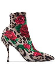 Dolce And Gabbana Lori 90 Leopard Rose Printed Boots Multicolour