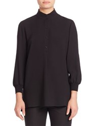Lafayette 148 New York Silk Double Georgette Three Quarter Sleeve Declan Blouse Black