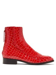 Alexachung Tour Crocodile Effect Leather Boots Red
