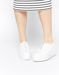 Whistles Lace Up White Leather Flatform Trainers