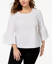 Almost Famous Trendy Plus Size Cotton Embellished Blouse White