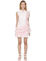 Vivetta Ruffled Organza And Eyelet Lace Mini Dress