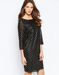Ichi Brook Metallic Spot Dress With High Neck Black