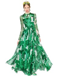 Dolce And Gabbana Leaves Printed Silk Chiffon Gown