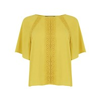 Oasis Bobble Fluted Sleeve Top Ochre