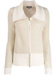 N.Peal Zipped Knitted Cardigan Neutrals