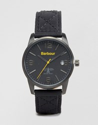Barbour Leather Watch In Black Black