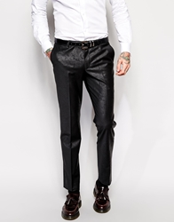 Noose And Monkey Suit Trousers With Tonal Paisley Print In Skinny Fit Black