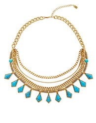 Steve Madden Turquoise Goldtone Curb Chain Multi Row Necklace